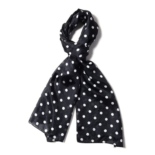 New Season-100% Mulberry Silk Black and White Polka Dots Pattern Scarf (Size 175x53 Cm)