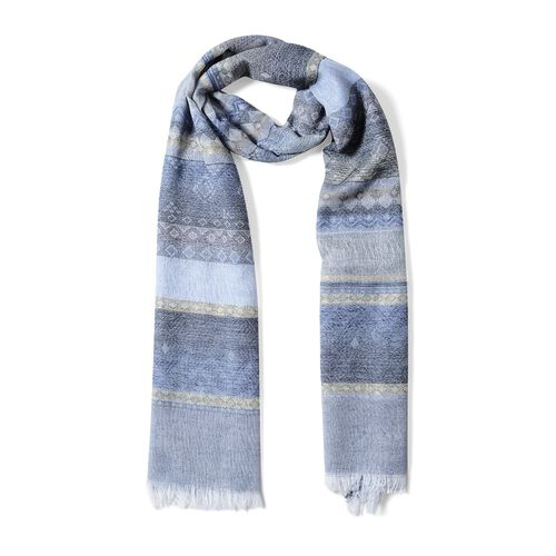 Light Blue, Grey and Multi Colour Scarf with Strip Pattern (Size 180x68 Cm)