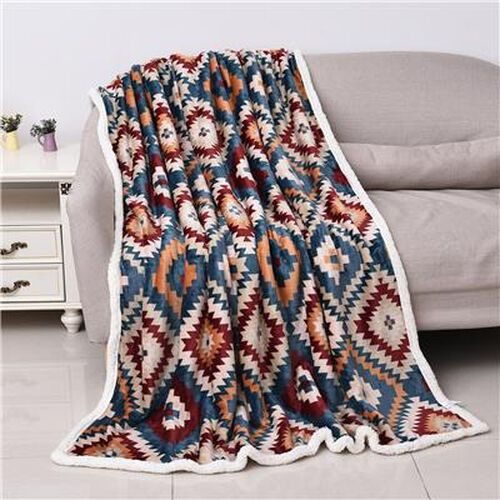 Santa Fe Printed Warm and Soft Double Layer Sherpa Blanket Size 150x200 cm