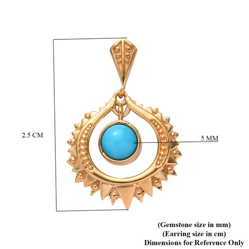 GP Arizona Sleeping Beauty Turquoise and Blue Sapphire Dangle earrinsg (with Push Back) in 14K Gold Overlay Sterling Silver 1.00 Ct.