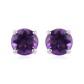9K White Gold Moroccan Amethyst Solitaire Stud Earrings (with Push Back) 0.89 Ct.