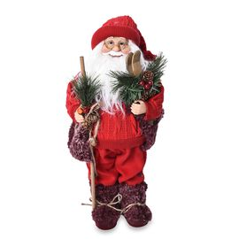 Christmas Decor - Santa Claus Standing with Cane and Skis (Size 45 Cm) - Red