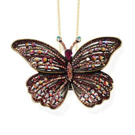 Multi Colour Austrian Crystal Butterfly Brooch or Pendant With Chain (Size 24) in Gold Plated