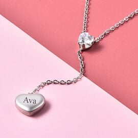 Personalise Engravable White CZ Heart Necklcae, Size 17+2 Inch, Stainless Steel