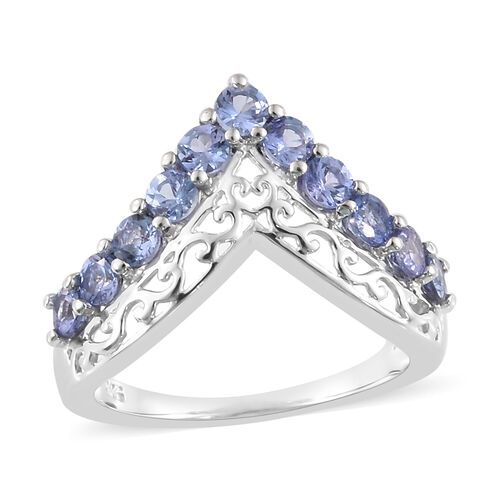 One Time Deal-Tanzanite (Rnd) Wishbone Ring in Platinum Overlay Sterling Silver 1.000 Ct.