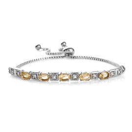 Citrine (Ovl), White Topaz Adjustable Bracelet (Size 6.5 - 9.5) in Stainless Steel 2.250 Ct.