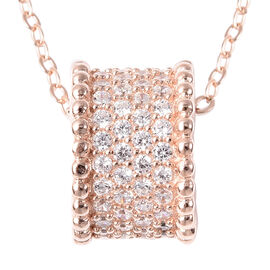 ELANZA Simulated Diamond Charm with Chain (Size 18) in Rose Gold Overlay Sterling Silver
