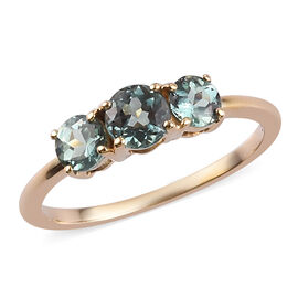 1 Carat AAA Narsipatnam Alexandrite Trilogy Ring in 14K Yellow Gold