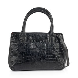 Limited Collection 100% Genuine Croc Embossed Leather with Horsebit Logo Classic Black Tote with Adjustable Shoulder Strap(31x9.5x23 Cm)