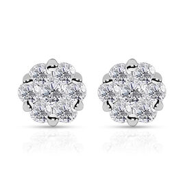 Super Auction-RHAPSODY 950 Platinum IGI Certified Diamond (Rnd) (VS/E-F) Pressure Set Earrings 2.000 Ct.