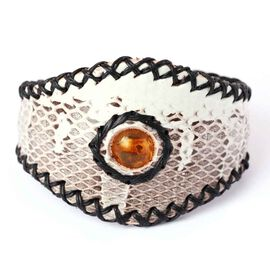 Simulated Amber with Black Leather Snakeskin Pattern Bangle