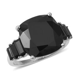 Boi Ploi Black Spinel (Cush 14 mm) Ring in Rhodium Overlay Sterling Silver 14.650 Ct.