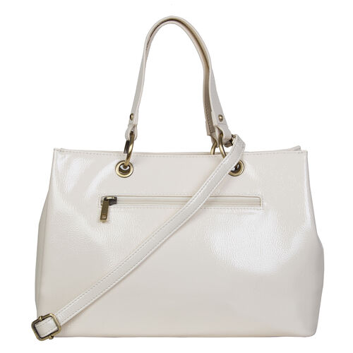 Bulaggi Collection - LILY Shopping Bag with Shoulder Strap and Zipper Closure (30x21x13cm) - White