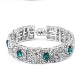 White Austrian Crystal and Simulated Emerald Bangle (Size 7) in Silver Tone