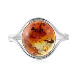 Baltic Amber Cuff Bangle in Silver 27 Grams 7.5 Inch