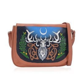 100% Genuine Leather RFID Protected Hand Painted Deer in the Mysteryland Crossbody Bag (Size 28.5x20