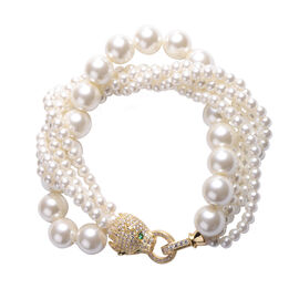 Simulated White Pearl, Simulated Diamond and Simulated Peridot Bracelet (Size 8) in Gold Tone