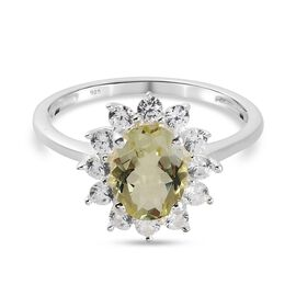 Lemon Quartz and Natural Cambodian Zircon Halo Ring in Sterling Silver 1.75 Ct.