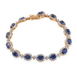 20.75 Ct Himalayan Kyanite and Cambodian Zircon Tennis Style Bracelet in Gold Plated Sterling Silver