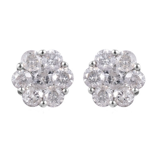 9K W Gold SGL Certified Natural Diamond (I3/G-H) Floral Stud Earrings (with Push Back) 1.00 Ct.