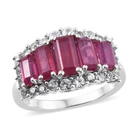 3.75 Ct African Ruby and Cambodian Zircon 5 Stone Ring in Platinum Plated Sterling Silver