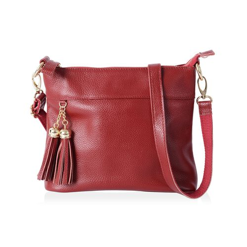 Super Soft 100% Genuine Leather Sassy Red Colour Cross Body Bag with Adjustable and Removable Should