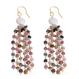 Designer Inspired- Fresh Water Pearl and Multi-Tourmaline Fish Hook Earrings in Sterling Silver 29.000 Ct.