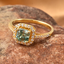 Blue Moissanite (Asscher Cut) and White Moissanite Ring in Yellow Gold Overlay Sterling Silver 1.38 Ct.