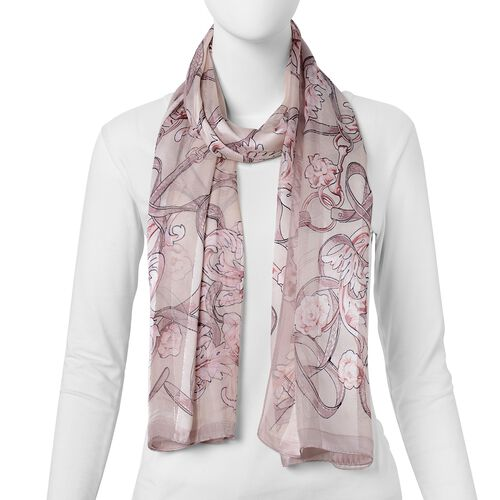 100% Mulberry Silk Brown, Burgundy and Multi Colour Rose Flower Pattern Scarf (Size 170x53 Cm) (Weight 40 Gms)