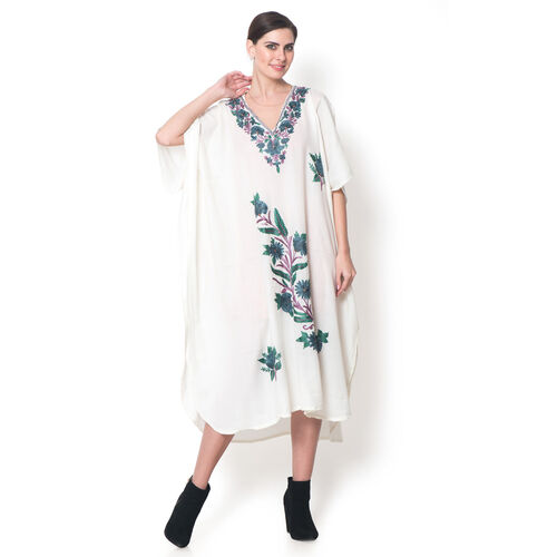 Limited Available - 100% Merino Wool Multi Colour Flower and Leaves Embroidered Off White Colour Poncho (One Size for all)
