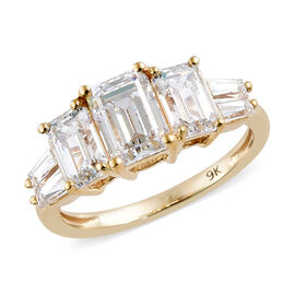 J Francis Made with SWAROVSKI ZIRCONIA Trilogy Ring in 9K Gold 2.43 Grams