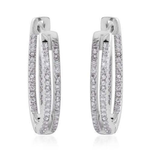 ELANZA Simulated Diamond (Rnd) Hoop Earrings (with Clasp Back) in Rhodium Overlay Sterling Silver.
