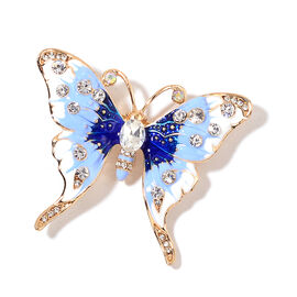 Simulated Diamond ,White and Magic Colour Austrian Crystal Butterfly Brooch with Enameled in Gold Tone