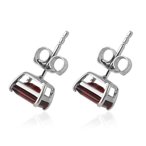 9K White Gold AA Mozambique Garnet (Oct) Solitaire Stud Earrings (with Push Back) 2.45 Ct.