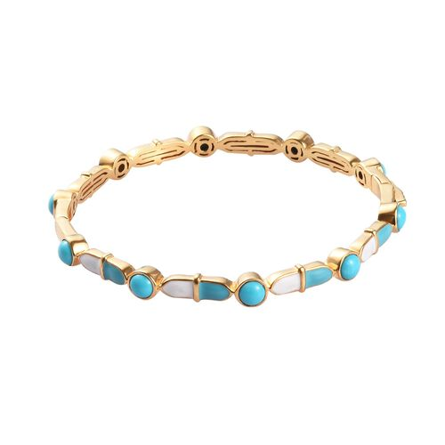 AA Arizona Sleeping Beauty Turquoise Enamelled Bangle (Size 7.5) in 14K Gold Overlay Sterling Silver
