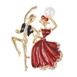 Simulated Pearl and White Austrian Crystal Dancing Couple Brooch with Enameling in Gold Tone