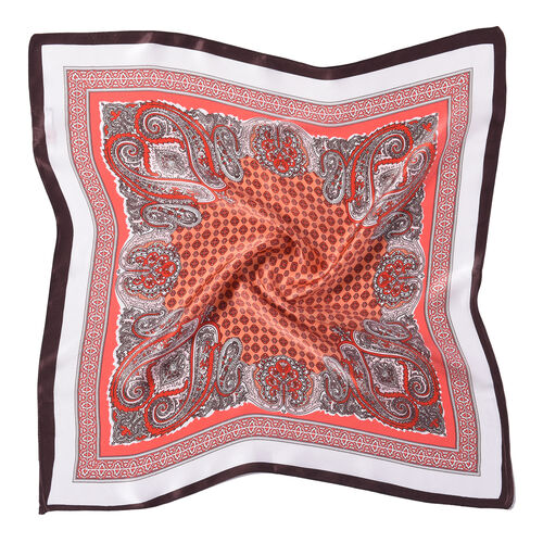LA MAREY Pure 100% Mulberry Silk Scarf in Red Paisley Pattern