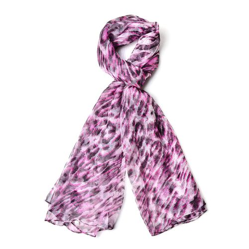 40% Silk Rose Red and Black Colour Leopard Pattern Scarf (Size 165X105 Cm)