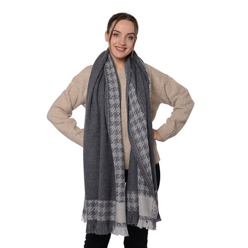 Close Out Deal LA MAREY Super Soft 100% Wool Shawl in Grey Houndstooth Border Pattern with Tassels (