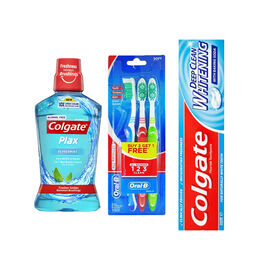 Colgate Deep Clean Whitening Toothpaste - 100ml, Colgate Plax Peppermint Mouthwash - 500ml & Oral B