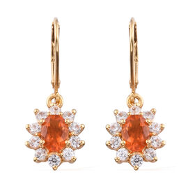 Jalisco Fire Opal (Ovl 7x5 mm), Natural Cambodian Zircon Lever Back Earrings in 14K Gold Overlay Ste