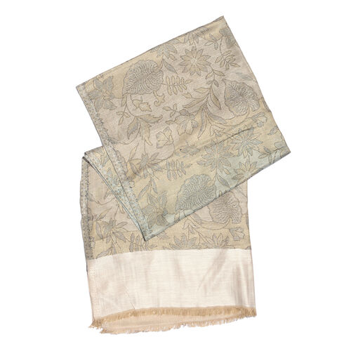 100% Modal Reversible Green, Beige and Multi Colour Flower and Leaves Pattern Jacquard Scarf (Size 190x70 Cm)