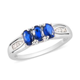 Tanzanian Blue Spinel and White Diamond Ring in Platinum Overlay Sterling Silver 1.00 Ct.