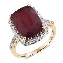 9K Yellow Gold Rare Size AAA African Ruby (Cush 15.45 Ct), Natural White Cambodian Zircon Ring 16.250 Ct. Gold wt 5.01 Gms.
