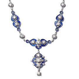 J Francis Platinum Overlay Sterling Silver Enamelled Neckalce (Size 18) Made with SWAROVSKI ZIRCONIA