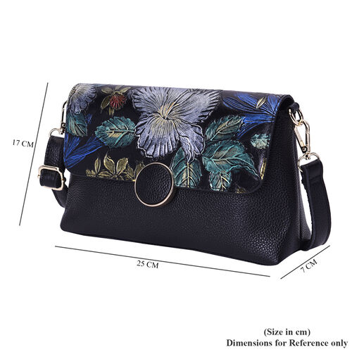 100% Genuine Leather Floral Embossed Pattern Crossbody Bag (25x18x7cm) with Magnetic Closure in Black