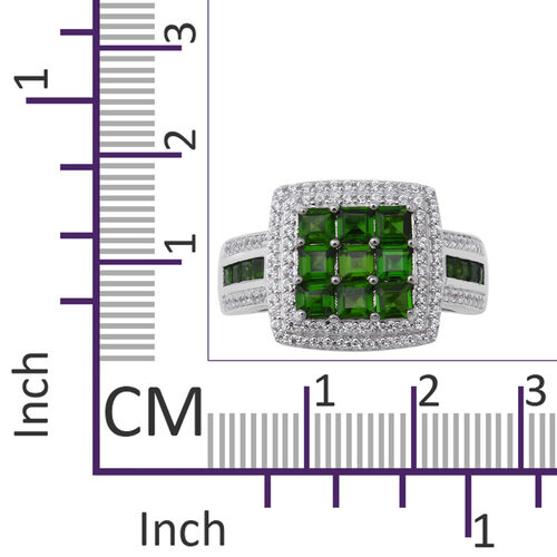 Russian Diopside (Sqr), Natural White Cambodian Zircon Ring in Rhodium Overlay Sterling Silver 3.06 Ct, Silver wt 6.70 Gms