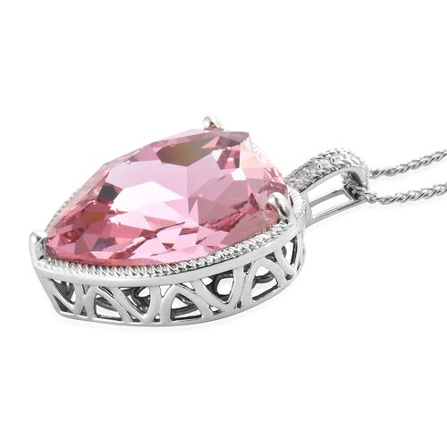Crystal from Swarovski - Pink Sapphire Colour Crystal (Hrt), Pendant with Chain (Size 18) in Platinum Overlay Sterling Silver, Silver wt 9.88 Gms