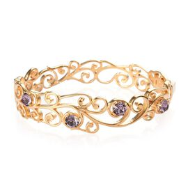 J Francis Antique Pink Crystal from Swarovski Floral Vine Bangle in 18K Gold Plated 7.5 Inch