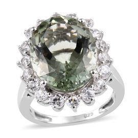 10 Ct Prasiolite and Cambodian Zircon Halo Ring in Platinum Plated Sterling Silver